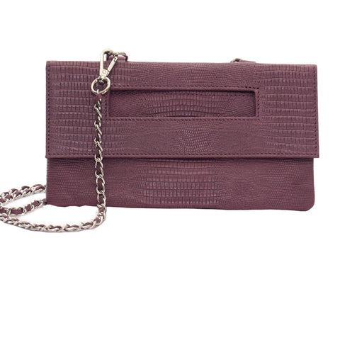 Capri 3-Way Embossed Python Pouch in Purple