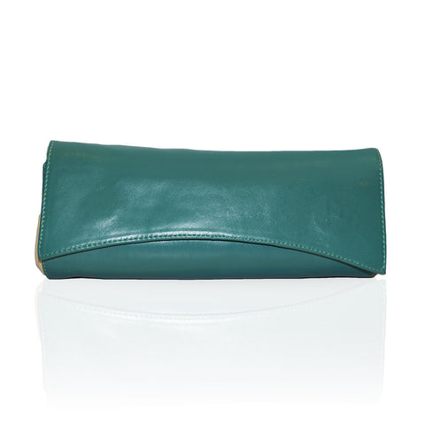 Siska Color Block Clutch in Emerald/White