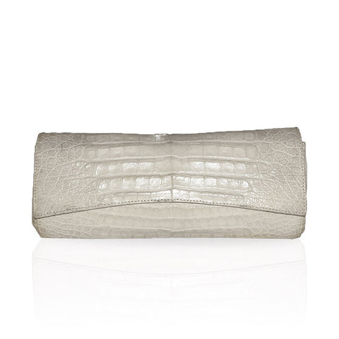 Siska Crocodile Clutch in Natural