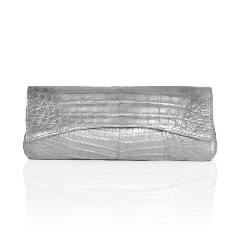 Siska Crocodile Clutch in Silver