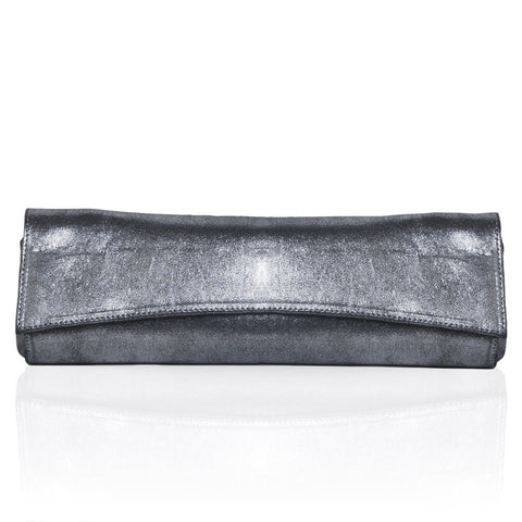 Siska Large Metallic Clutch in Silver
