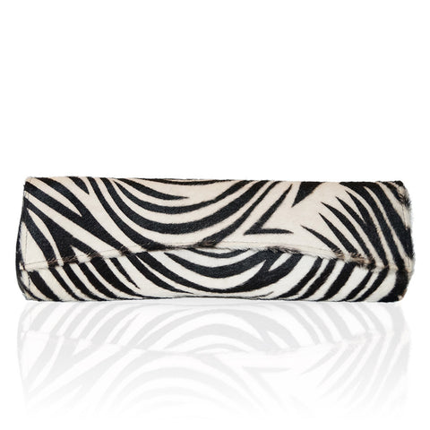 Siska Large Calf Hair Clutch in Zebra