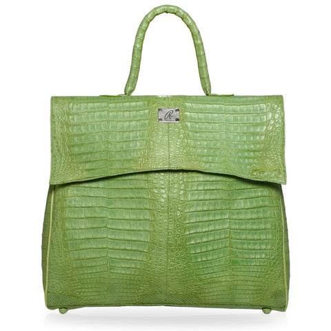 Mrin Crocodile Hobo Bag in Lime