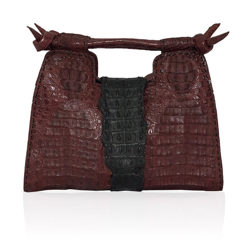 Natalia Crocodile Handbag in Burgundy