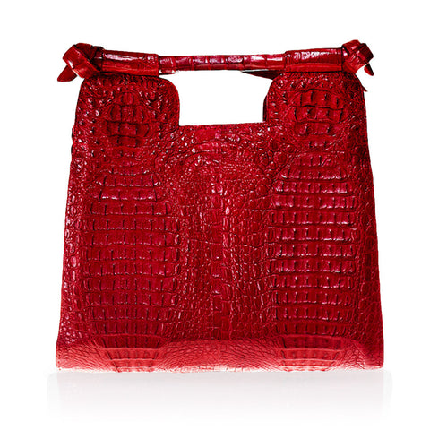 Natal Crocodile Handbag in Red