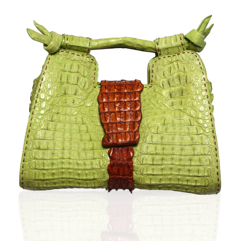 Natalia Crocodile Handbag in Lime/Cognac