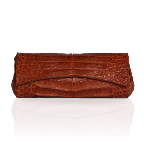 Siska Crocodile Clutch in Cognac