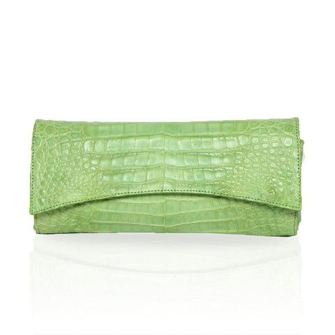 Siska Crocodile Clutch in Lime