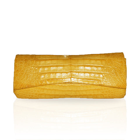 Siska Crocodile Clutch in Yellow
