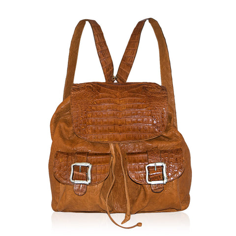 Caserta Crocodile Backpack in Cognac