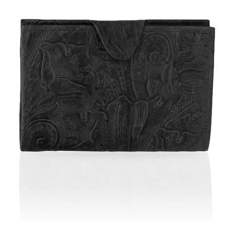 Rio Floral Embossed Wallet in Black