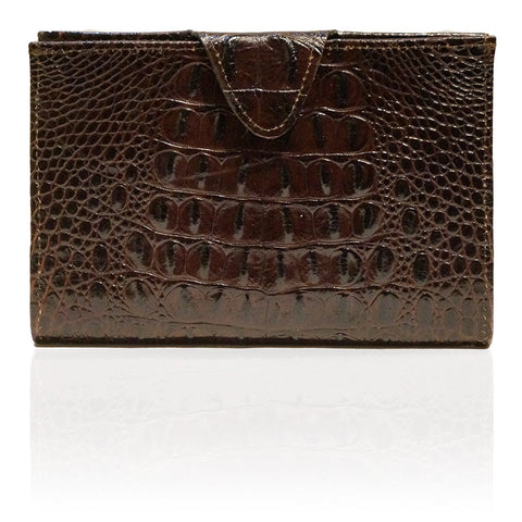 Rio Embossed Hornback Wallet in Chocolate