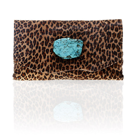 Marie Calf Hair Wallet/Clutch in Small Leopard