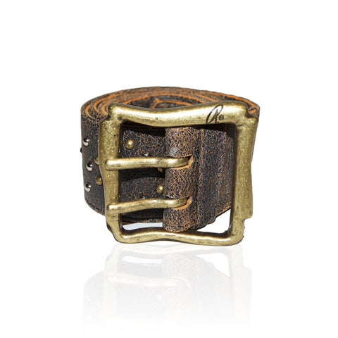 Alessandria Belt with Studs in Abstract/Brass