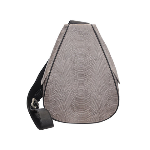 Florence Embossed Python Backpack in Grey/Black