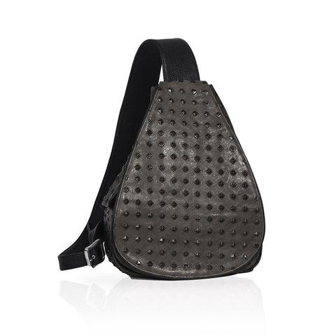 Florence Castle Leather Backpack in Grey
