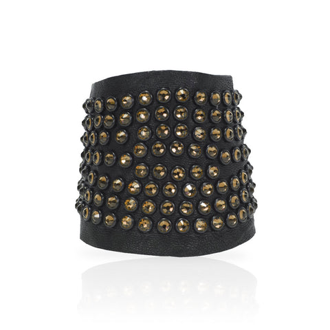 Adel Cuff Swarovski Crystals in Black/Gold