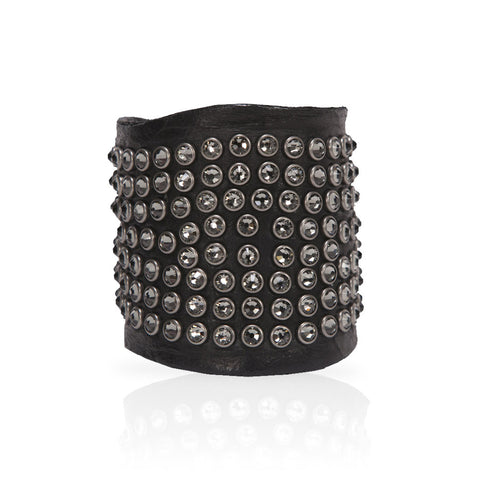 Adel Cuff Swarovski Crystals in Black/Gunmetal