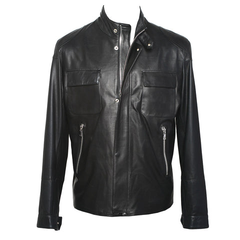 Pomezia Leather Jacket in Black
