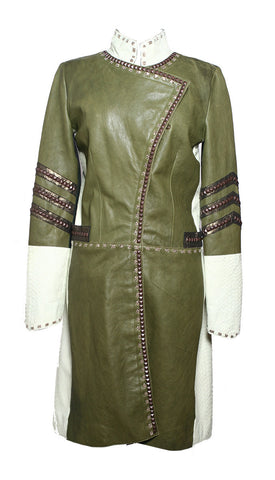 Las Palmas Long Coat in Mixed Green