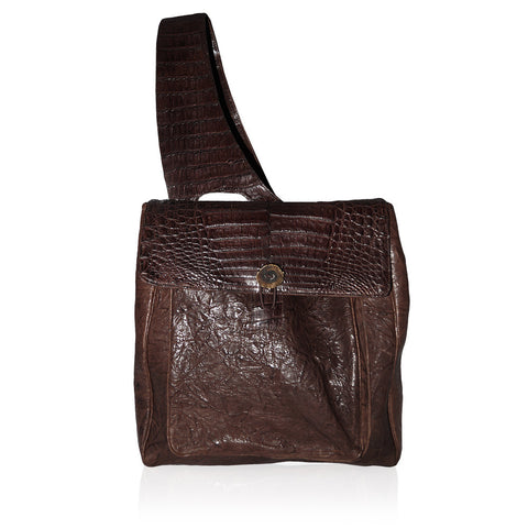 Gela Crocodile Backback in Chocolate
