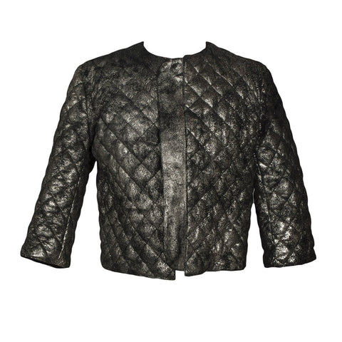 Catania Quilted Leather Jacket in Distressed Gold