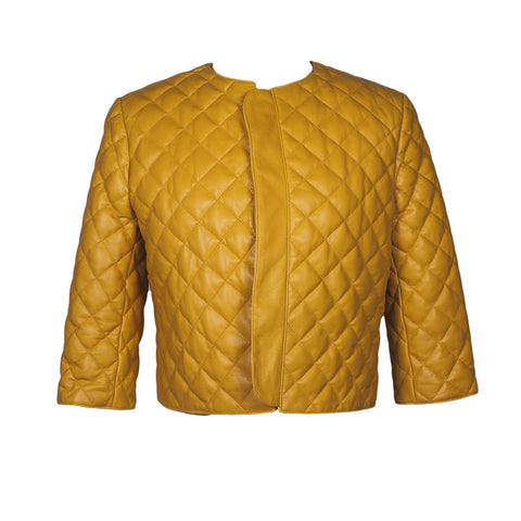 Catania Quilted Leather Jacket in Mustard Yellow