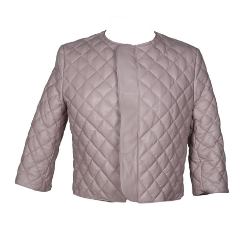 Catania Quilted Leather Jacket in Pink