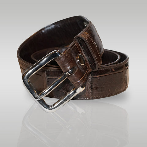 Rim Alligator Belt in Chocolate