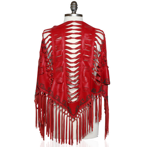 Bari Laser Cut Shawl in Red