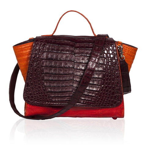 Gemma Crocodile Satchel in Burgundy, Orange & Red