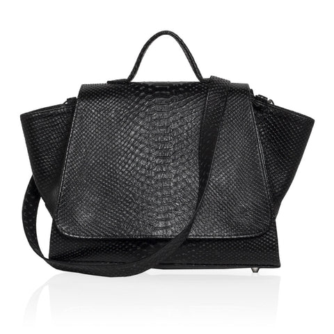 Gemma Embossed Python Satchel in Black