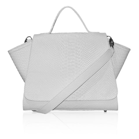 Gemma Embossed Python Satchel in White