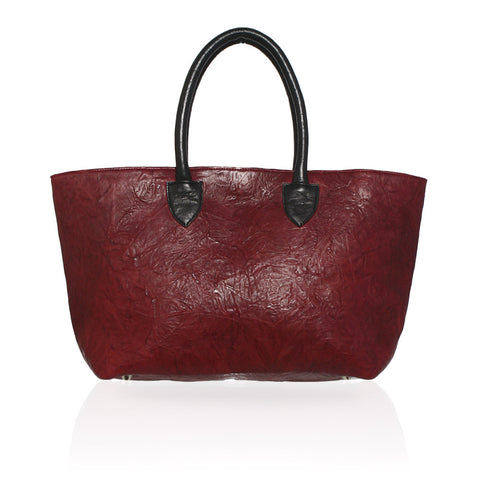 Monza Shopping Tote in Burgundy & Black