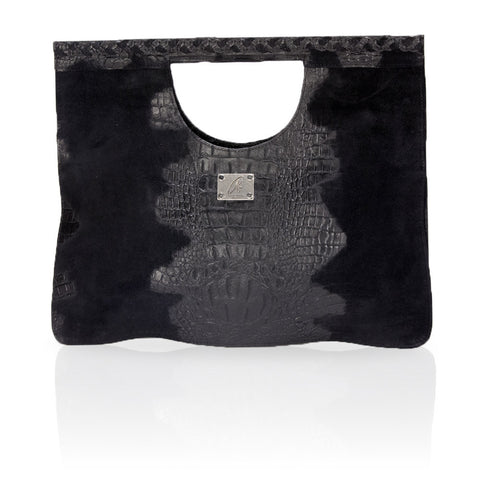 Arosa Hornback Suede Clutch in Black