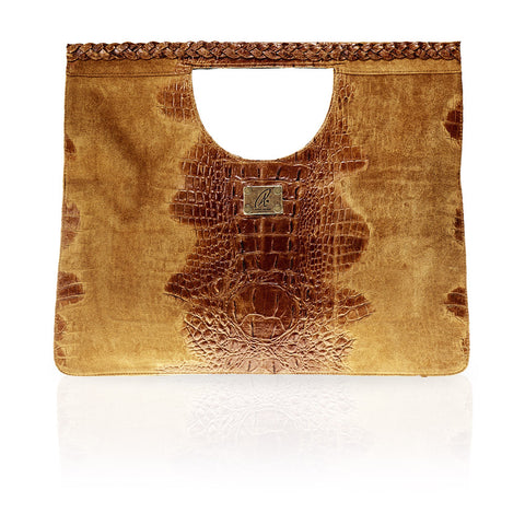 Arosa Hornback on Suede Clutch in Cognac