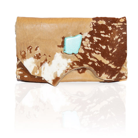 Marie Calf Hair Wallet/Clutch in Blonde Acid