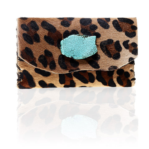 Marie Calf Hair Wallet/Clutch in Big Leopard