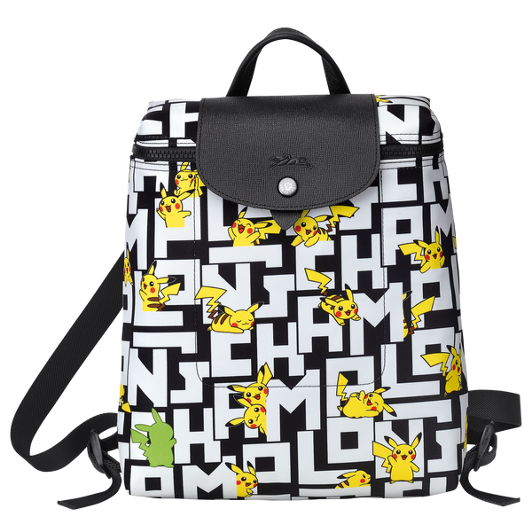 Longchamp x Pokemon Limited Edition Backpack in Black/White (Front view) - L1699HUT067