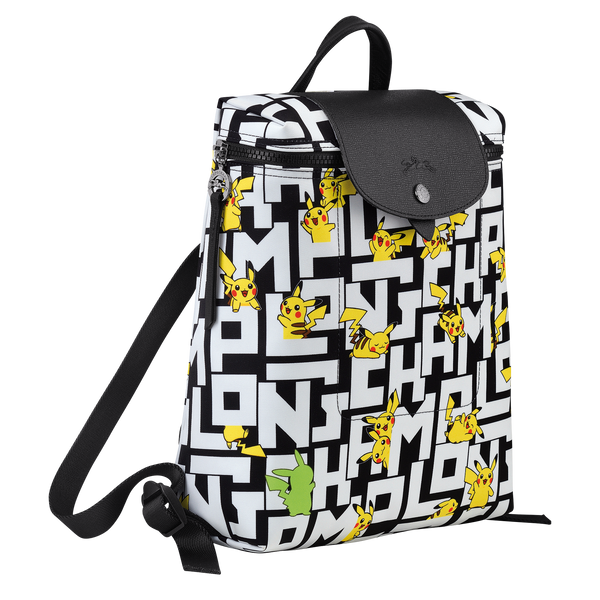 Longchamp x Pokemon Limited Edition Backpack in Black/White (Side view) - L1699HUT067
