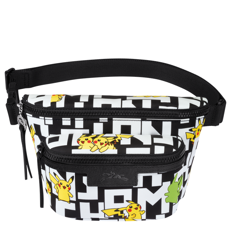 Longchamp x Pokemon Limited Edition Belt Bag M in Black/White (Front view) - 10034HUT067