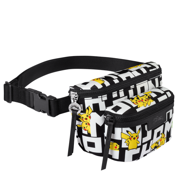 Longchamp x Pokemon Limited Edition Belt Bag M in Black/White (Side view) - 10034HUT067