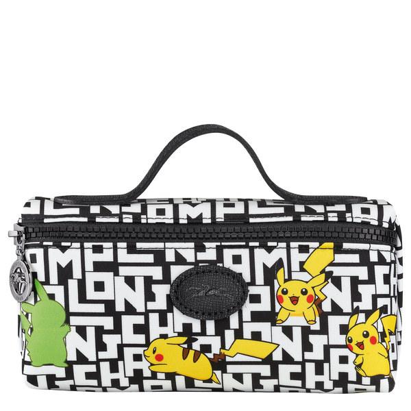 Longchamp x Pokemon Limited Edition Cosmetic Case in Black/White (Front view) - L3700HUT067