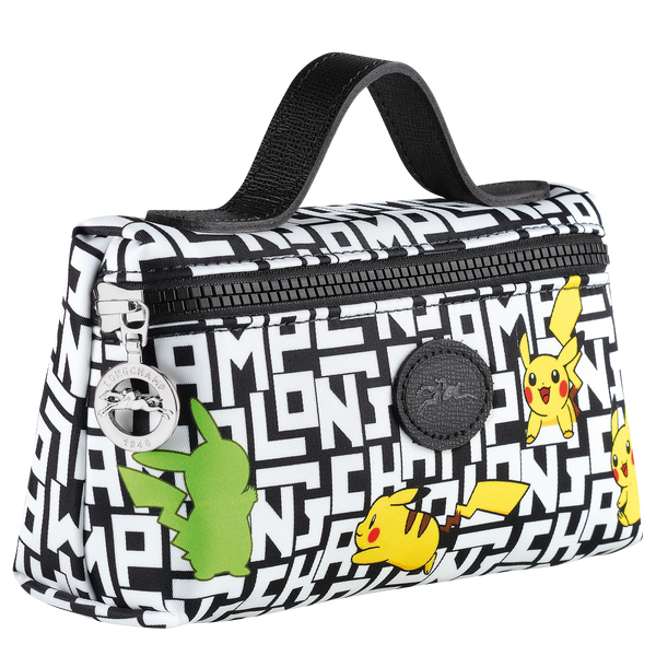 Longchamp x Pokemon Limited Edition Cosmetic Case in Black/White (Side view) - L3700HUT067