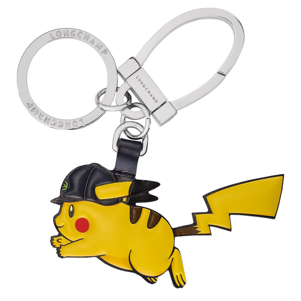 Longchamp x Pokemon Limited Edition Horsecap Pikachu Key Ring in Yellow (Front view) - 36038HVDP48