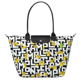 Longchamp x Pokemon Limited Edition Shoulder Bag L in Black/White (Front view) - L1899HUT067