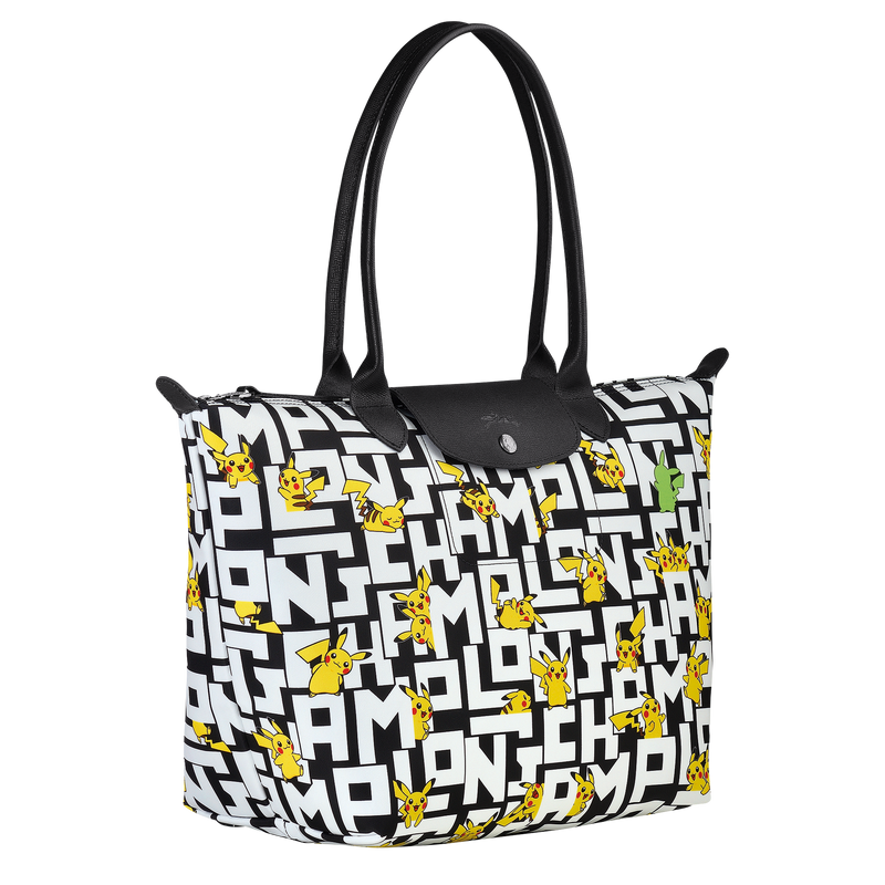 Longchamp x Pokemon Limited Edition Shoulder Bag L in Black/White (Side view) - L1899HUT067