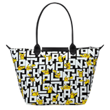 Longchamp x Pokemon Limited Edition Shoulder Bag L in Black/White (Back view) - L1899HUT067