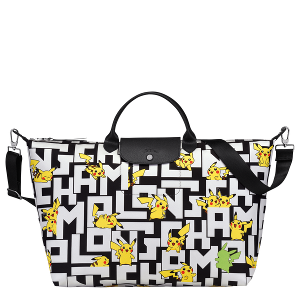 Longchamp x Pokemon Limited Edition Travel Bag L in Black/White (Front view) - L1624HUT067