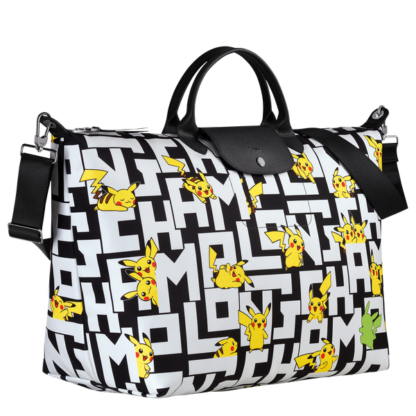 Longchamp x Pokemon Limited Edition Travel Bag L in Black/White (Side view) - L1624HUT067